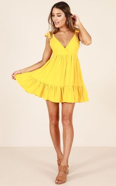 Showpo Strangest Thing dress in yellow - 6 (XS) Casual Dresses Casual Dresses For Women, Cute Dresses, Short Dresses, Summer Dresses, Clothes For Women, Party Dresses, Light Yellow Dresses, Yellow Gown, Classy Outfits
