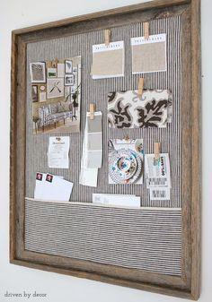 Simple DIY cork bulletin board (love the fabric pocket!) http://www.drivenbydecor.com/2016/02/framed-fabric-covered-cork-bulletin-board-simple-diy.html?utm_source=feedblitz&utm_medium=FeedBlitzRss&utm_campaign=drivenbydecor