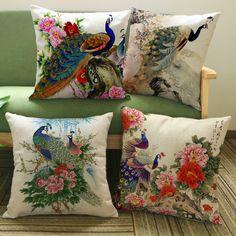 1 pcs/lote fleurs et paon peint linge housse de coussin pour canapé Throw taie d'oreiller de siège de voiture de taies d'oreiller dans Couvre-coussin de Maison & Jardin sur AliExpress.com | Alibaba Group