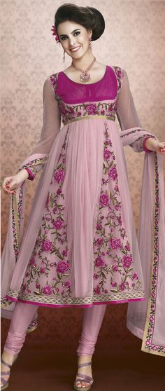 Dusty pink net churidar kameez