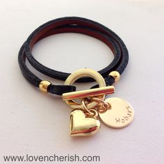 Search 'gold leather wrap bracelet at www.lovencherish.com