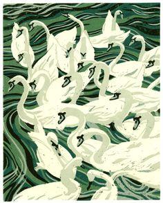 24 Swans - Linocut (5 colour) by Ann Lewis