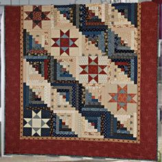 Log Cabin Quilt | ... Log Cabin Blocks. The Log Cabin Blocks Are Fun   The  Star Blocks Are A | Quilts | Pinterest | Log Cabins And Log Cabin Quilts