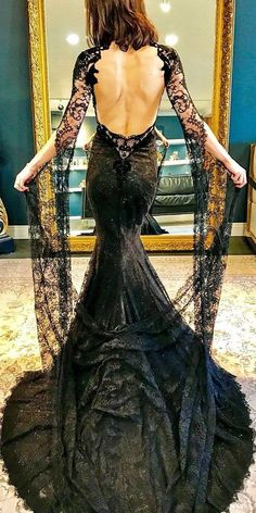 galia lahav black victorian gothic wedding gown with low back lace long sleeves