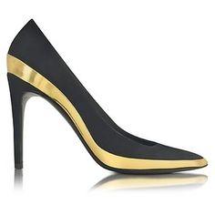 Balmain Shoes Sasha Black Suede and Gold Metallic Leather High Heel Pump