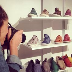 Photographer Cristina Tomas taking pictures of our amazing leather sneakers at SELECT tradeshow!
