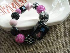Black Tile Mahjong Bracelet - Mahjong Jewelry - Mahjongg Gift by MahjongJewelry on Etsy