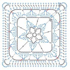 Transcendent Crochet a Solid Granny Square Ideas. Inconceivable Crochet a Solid Granny Square Ideas. Crochet Motif Patterns, Granny Square Crochet Pattern, Crochet Blocks, Crochet Diagram, Crochet Chart, Crochet Squares, Crochet Designs, Crochet Stitches, Knitting Patterns