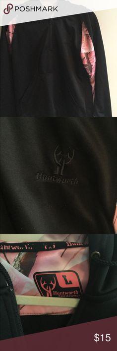 Huntworth ladies size L black & pink camo hoodie Huntworth ladies size L black and pink camo zip hoodie Huntworth Tops Sweatshirts & Hoodies