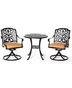 Montclair Outdoor 3 Piece Dining Set: 30 Round Cafe Table and 2 Swivel Dining Chairs - Shop All Outdoor Small Spaces - Furniture - Macy's