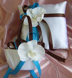 Wedding Pillow and Basket - Chocolate Brown - Turquoise - Ring Bearer Pillow - Flower Girl Basket