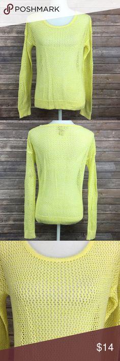 Mudd yellow mesh sweater Mudd yellow mesh sweater. Size xs. 52% cotton 31% acrylic 17% nylon.  (LQ1). Mudd Sweaters Crew & Scoop Necks