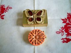 Vintage 1960s Butterfly Matchbox and Flower Pill Box