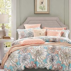 Peach Grey and Sky Blue Vintage Floral Bedding French Country Rustic Style 100% Cotton Damask Full, Queen Size Bedding Sets