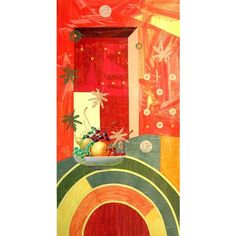 NOVICA Surrealist Painting (695 CAD) ❤ liked on Polyvore featuring home, home decor, wall art, paintings, surrealist paintings, red home accessories, green painting, fruit paintings, spanish paintings and novica paintings