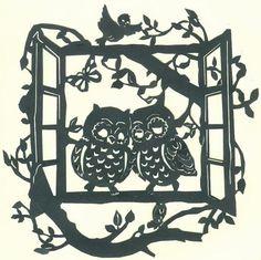 Vinyl Paper, Paper Art, Paper Crafts, Kirigami, Metal Bird Wall Art, Stencils, Owl Templates, Traditional Japanese Art, Owl Art