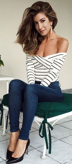 #fall #style #looks Striped Off The Shoulder Top + Denim