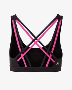 Bring sexy back while you work it out. Designed with attention to every detail, this sports bra offers comfortable, streamlined coverage with cool black and hot pick cross straps and removable molded cups.