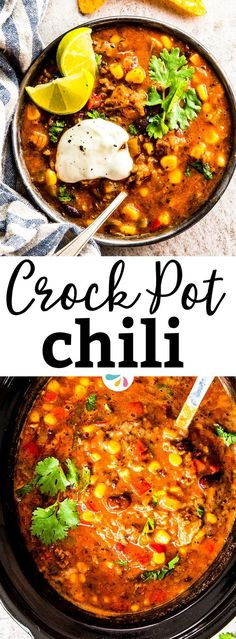 This is the BEST recipe for a healthy slow cooker chili! This all homemade dinner idea made with two kinds of beef, plenty of beans and a good dose of colorful vegetables would even make the pioneer woman cheer on your cooking skills. It's great for football season, for tailgating or just because fall and winter are great months to serve a hot pot of chili for dinner! It's so easy to put together yet so flavorful - you NEED to put this on your crock pot meal plan! | #crockpot #gameday…