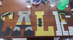 Hand drawn and painted wooden letters (batman) - Wood Letters Painting Wooden Letters, Diy Letters, Painted Letters, Wood Letters, Superhero Letters, Batman Birthday, Batman Party, Baby Batman, Lego Batman