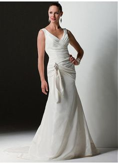 TAFFETA MERMAID V-NECK WEDDING DRESS LACE BRIDESMAID PARTY BALL EVENING GOWN IVORY WHITE FORMAL PROM CUSTOM