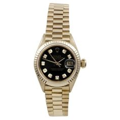 Pre-owned Rolex President 6917 Yellow Gold Black Diamond Fluted Oyster... (8,245 CAD) ❤ liked on Polyvore featuring jewelry, watches, pre owned watches, gold watches, dial watches, gold wristwatch and i love jewelry