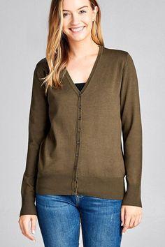 725aa08e0 Ladies fashion long sleeve v-neck classic sweater cardigan  fashion   clothing  shoes