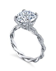 """Platinum MICHAEL B. Engagement Ring from the INFINITY Collection features two hand-braided wires and our signature """"Michael Pave"""" micro pave setting style. Set with Diamond Tips and Prongs for a truly over-the-top look, the ring can also be set with our copyrighted Fleur de Lys high polish basket. All MICHAEL B. engagement rings are hand-crafted in Studio City, CA, using the finest of materials and for the exact dimensions of your center stone."""