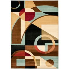 Safavieh�Porcello Rectangular Black Geometric Woven Area Rug (Common: 6-ft x 9-ft; Actual: 6.58-ft x 9.5-ft)