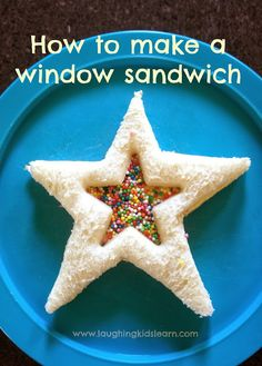 How to make a window sandwich as food for children's birthday parties. Laughing Kids Learn This could be a fun snack-tivity for the kids to make with bread, strawberry jam and sprinkles to celebrate birthdays. Toddler Meals, Kids Meals, Kreative Snacks, Childrens Meals, Preschool Snacks, Food Humor, Cooking With Kids, Cute Food, Creative Food