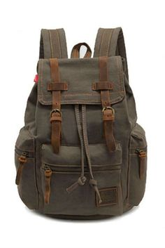 Vintage Army Green Hiking Travel Military Backpack #30-50 #backpacks #meta-filter-color-green #newacc