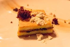 Olive Tapenade New York Style Cheesecake - Olive marmalade, black olive caramel, coffee crunch, coffee jelly, banana Coffee Jelly, New York Style Cheesecake, Tapenade, Marmalade, Caramel, Banana, Restaurant, Desserts, Black