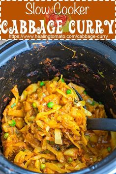 Cabbage Curry in Slow Cooker - Healing Tomato Recipes - Cabbage Curry! This Slow Cooker Indian Cabbage Curry recipe is made with cabbage, potatoes and peas - Lunch Recipes, Vegetarian Recipes, Breakfast Recipes, Healthy Recipes, Healthy Snacks, Diet Breakfast, Easy Recipes, Vegetarian Cooking, Popular Recipes