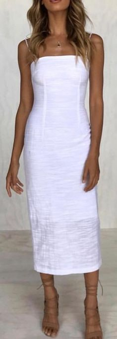 #spring #outfits white spaghetti-strap dress. Pic by @lovestoreyofficial