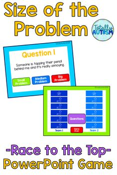 Students practice identifying the size of the problem while playing an online game. Powerpoint games are easy to use and no prep! Powerpoint Games, Student Behavior, Social Stories, I Am Game, Social Skills, Spice Things Up, Lesson Plans, Students, Racing