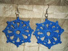 Brinco de Crochê Mandala Roca Azul&Prata / Earrings Crochet Distaff Mandala Blue&Silver