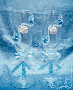 Купить Свадебные бокалы - голубой, свадебные бокалы, бокалы для свадьбы, бокалы для молодоженов, бокалы для шампанского