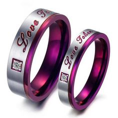 Buy  Purple Color Stainless Steel Couple Rings online. Jeulia offers premium quality jewelry at affordable price, shop now!