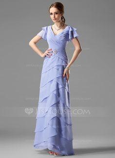 Mother of the Bride Dresses - $142.99 - A-Line/Princess V-neck Floor-Length Chiffon Mother of the Bride Dress With Ruffle Beading (008002220) http://jjshouse.com/A-Line-Princess-V-Neck-Floor-Length-Chiffon-Mother-Of-The-Bride-Dress-With-Ruffle-Beading-008002220-g2220?snsref=pt&utm_content=pt