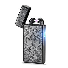 Unishow å¨ USB Rechargeable Flameless Electronic Plasma Pulse Cigarette Metal Lighter in Gift Box-Double Arc (Gunmetal Cross) -- Continue to the product at the image link.