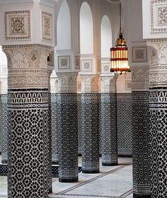 columns in a building in Marrakech