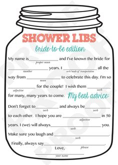 Bridal Shower Game-- Mason Jar Theme Shower Game, Mad Libs for the Bride to Be-Customization NOT Included