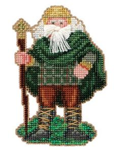 """This is a complete Mill Hill Kit in the Celtic Santas Collection. Ireland Santa Kit contains Mill Hill Glass Beads, 14-count perforated paper, floss, needles, and a chart with instructions. The finished size is 3"""" x 4.75""""."""