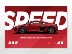 Audi Landing Page Konzept - VoltaGar Ui Ux Design, Brochure Design, Layout Design, Graphic Design, Audi R8, Car Advertising, Advertising Design, Car Banner, Bike Photography