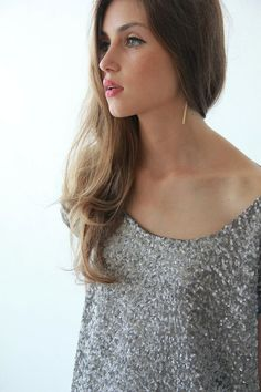 Silver Sequin top  Glamorous blouse Cropped top  door BLUSHFASHION