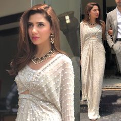 puts her spin on a palazzo sari as she gears up for the promotion of her movie. The beauty wears Elan. Pakistani Wedding Outfits, Pakistani Dresses, Indian Dresses, Indian Outfits, Sari Design, Indian Attire, Indian Wear, Modern Saree, Indian Designer Outfits