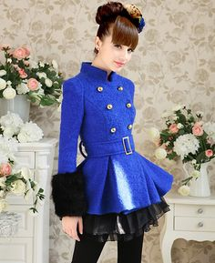 Elegant Sapphire Double Breasted Fur Trimming Woolen Coat | $159.00