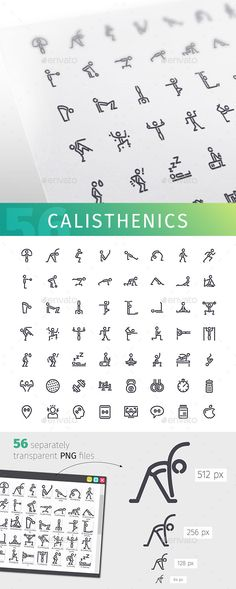 Calisthenics Line #Icons Set - People #Characters Download here: https://graphicriver.net/item/calisthenics-line-icons-set/20417283?ref=alena994