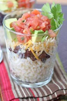 Burrito Cups Dinner. Sub brown rice - what a great idea!!!  i am having a shower next weekend and i am soooo making these!!!