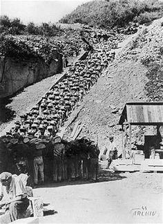 Prisoners, in groups of five, climbing the stairs with a wooden carrier, holding a granite stone, strapped to their back. (The work consisted of carrying up a stone of considerable size and weight, along the 186 steps, after which there was still a considerable distance to cover. The man who chose a stone found to be too small was out of luck. And all of this went on at the rate of eight to ten trips per day. The pace was infernal, without a second's rest. from Lt. Col. Monin )